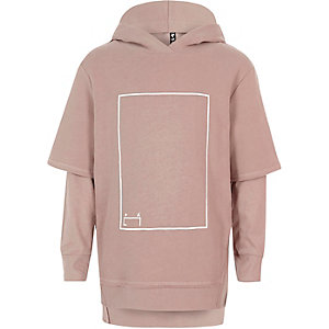 RI Studio – Sweat à capuche imprimé rose à superposition pour enfant