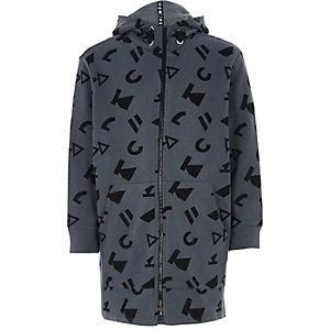 RI Studio - Grijze hoodie met print en rits voor kinderen