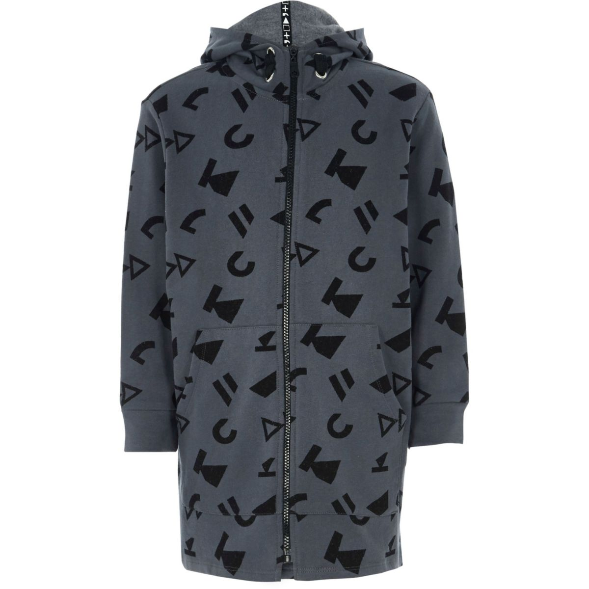Kids grey RI Studio printed zip up hoodie