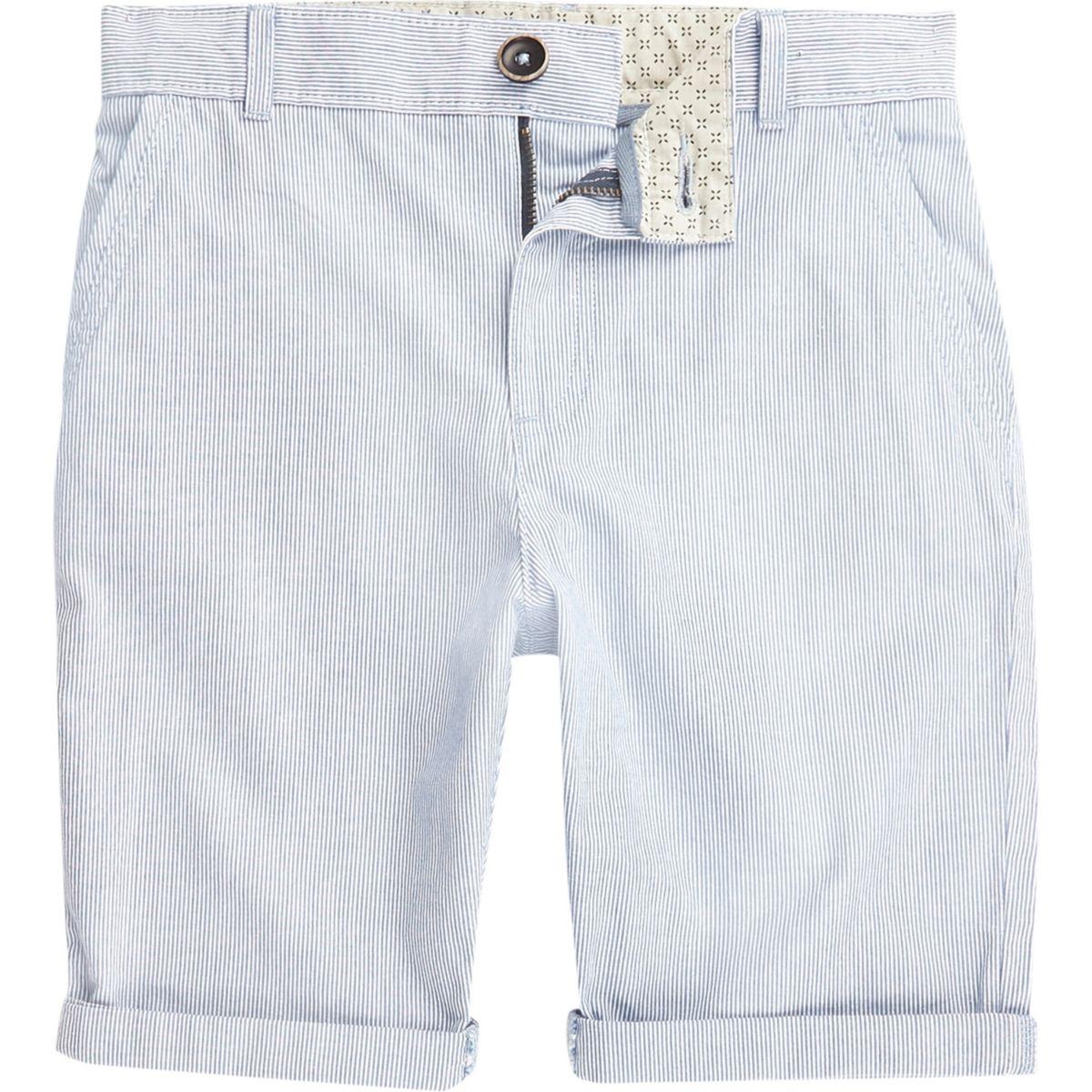 Boys blue stripe chino shorts