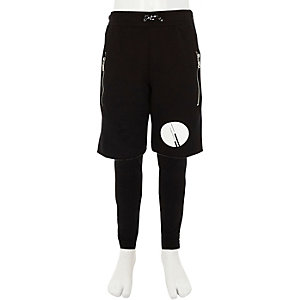 Kids black RI Studio layered jogger shorts