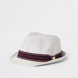 Boys stone stripe trim trilby hat