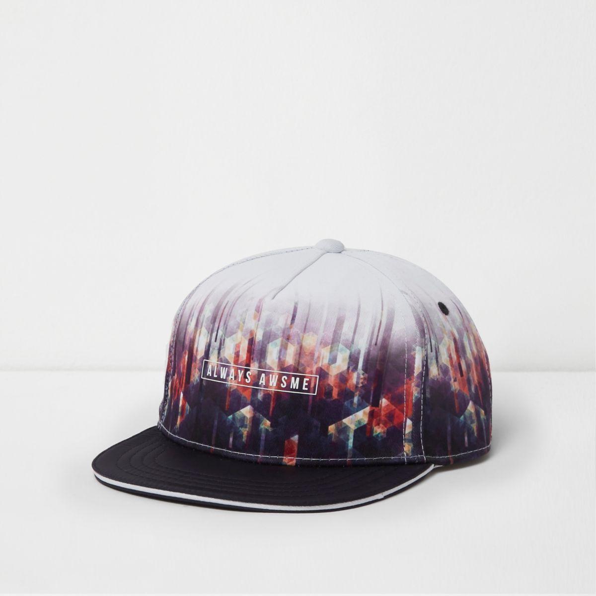 Boys white geo fade print flat peak cap