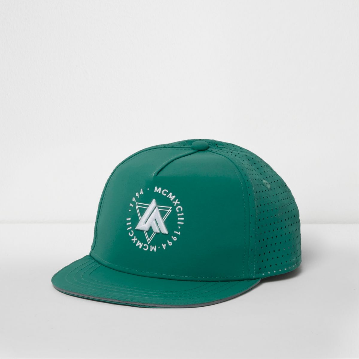 Boys green perforated mesh snapback cap