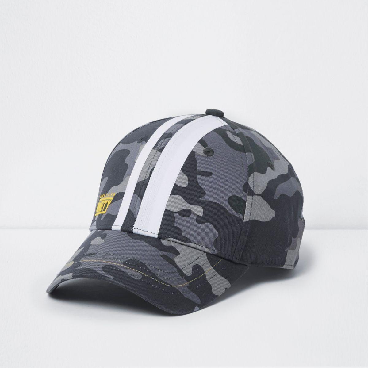 Boys khaki camo print stripe baseball cap