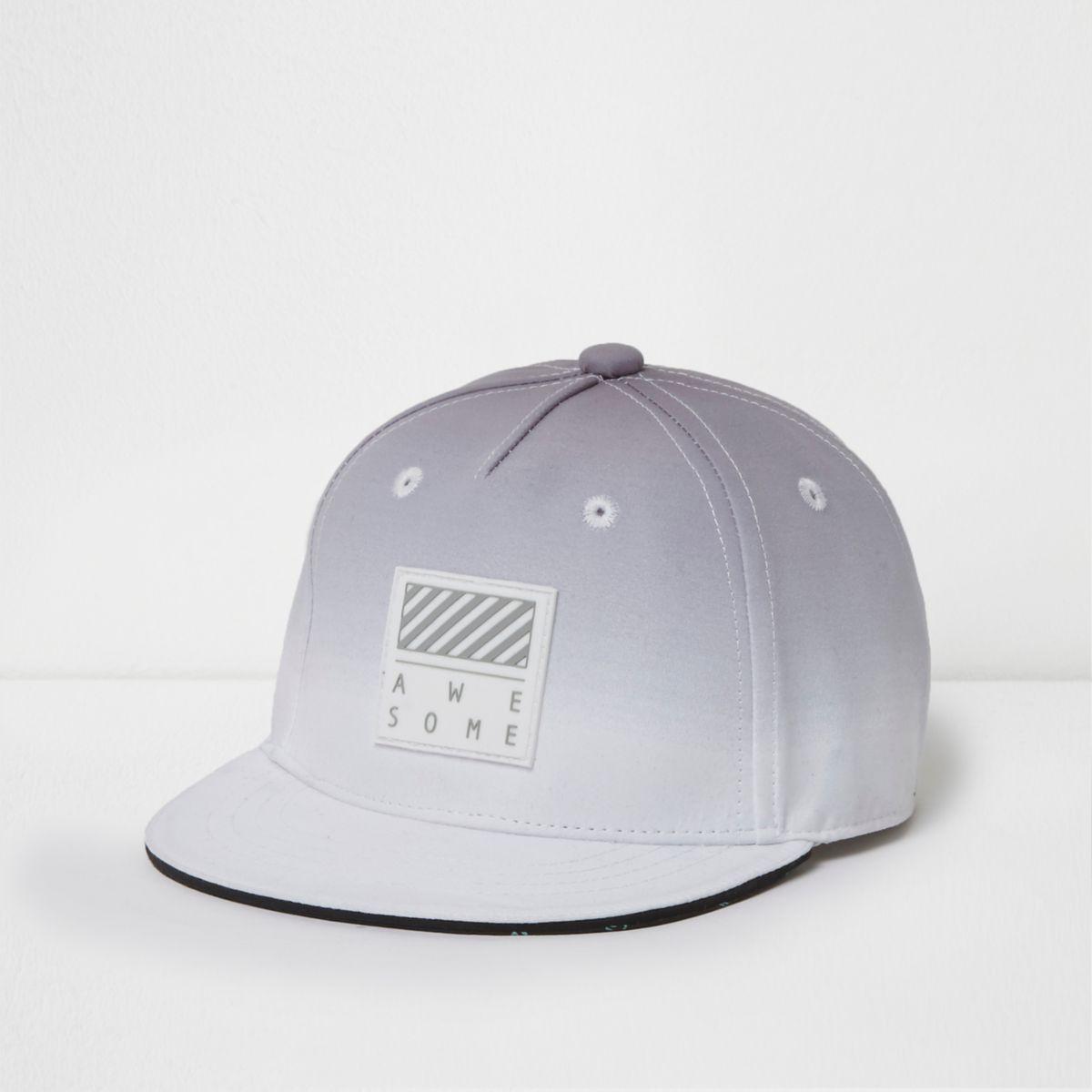 Mini boys grey ombre 'awesome' flat peak cap
