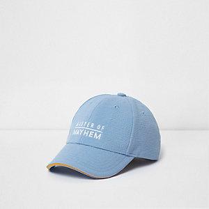 Mini - Blauwe baseballpet met 'mayhem'-print voor jongens