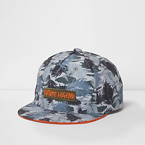 Mini boys khaki tropical flat peak cap