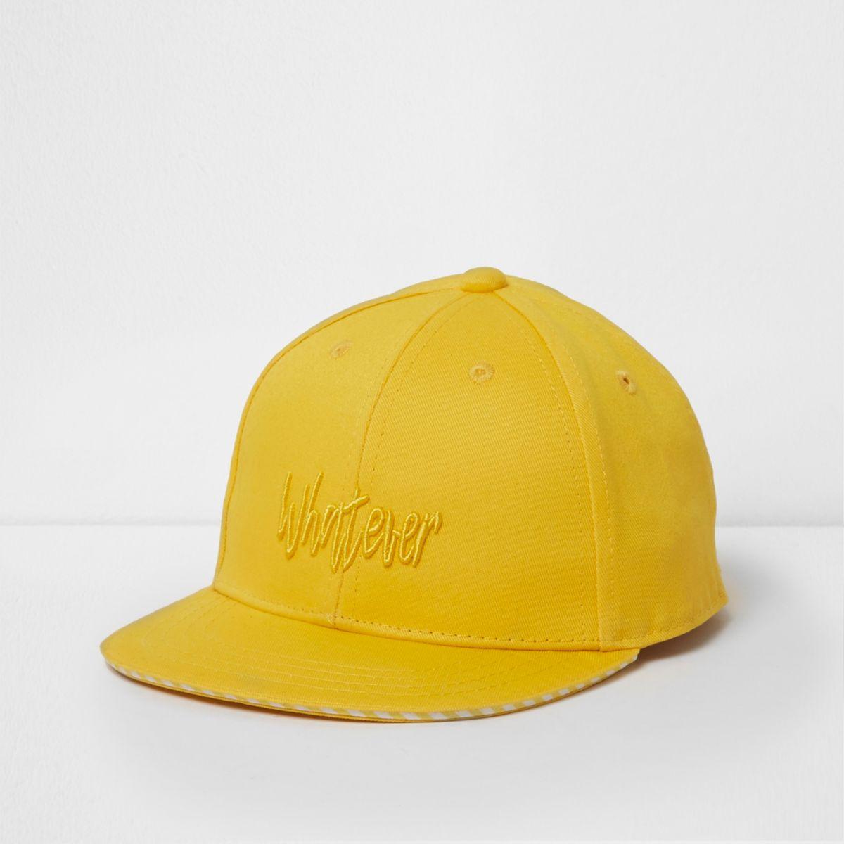 Mini boys yellow 'whatever' snapback cap