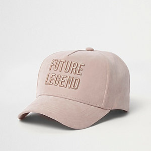 Mini boys blush pink 'legend' baseball cap
