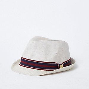 Chapeau trilby grège à bordure rayée mini garçon