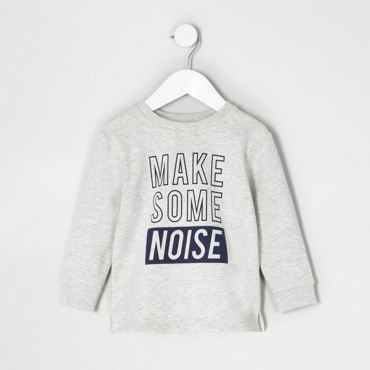 Mini boys grey 'make some noise' sweatshirt