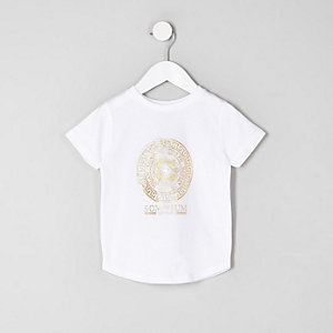 Mini - Wit T-shirt met logo in folieprint voor jongens