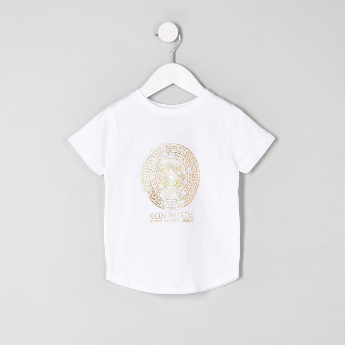 T-shirt blanc à logo métallisé mini garçon