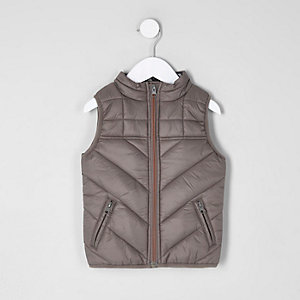 Mini boys khaki camo lined puffer vest