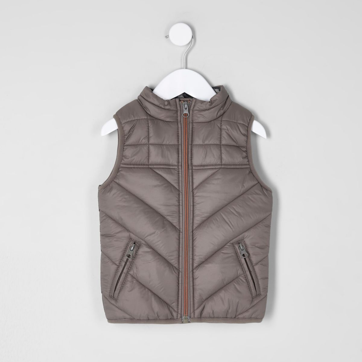 Mini boys khaki camo lined puffer vest