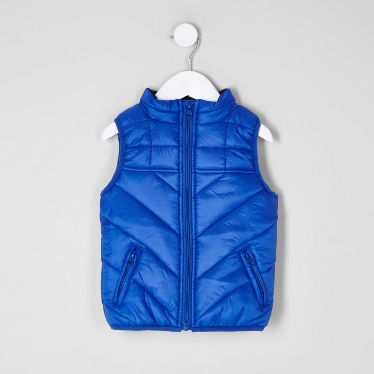 Mini boys blue 'dude' puffer vest