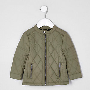 Mini boys khaki green quilted racer jacket