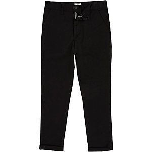 Boys black skinny fit chino trousers
