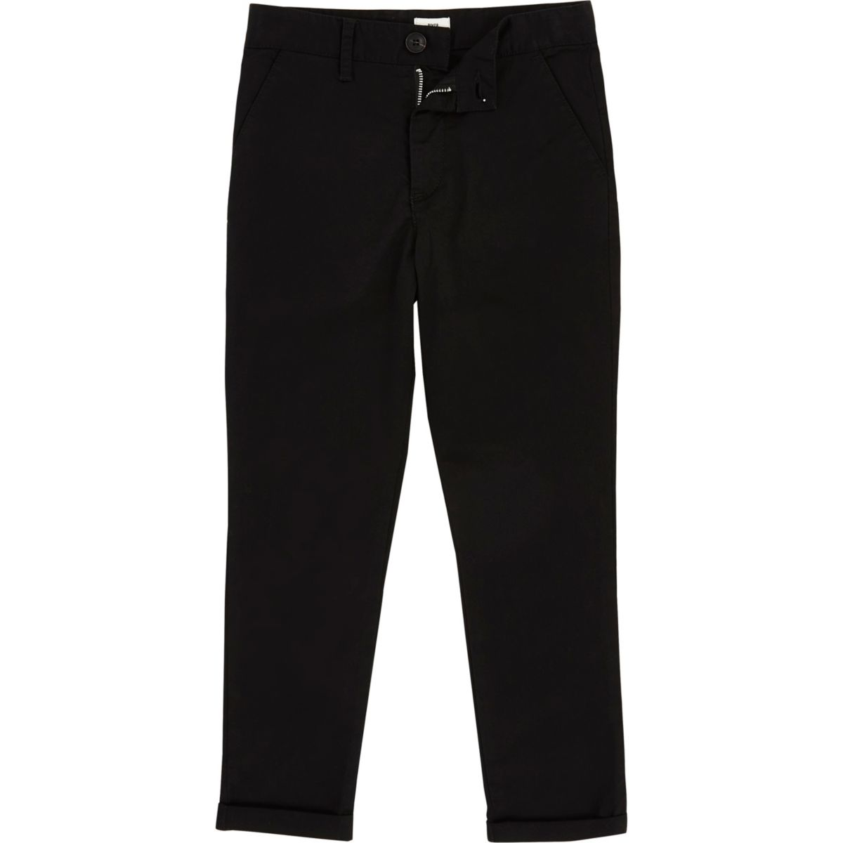 Boys black skinny fit chino pants