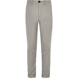 Boys grey Sid skinny fit chino pants