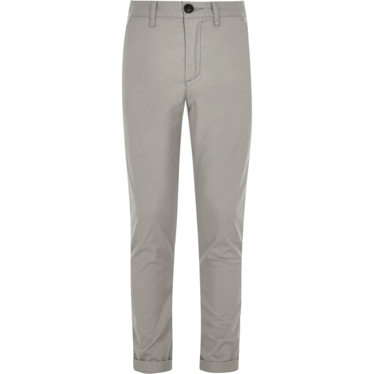 Boys grey Sid skinny fit chino trousers