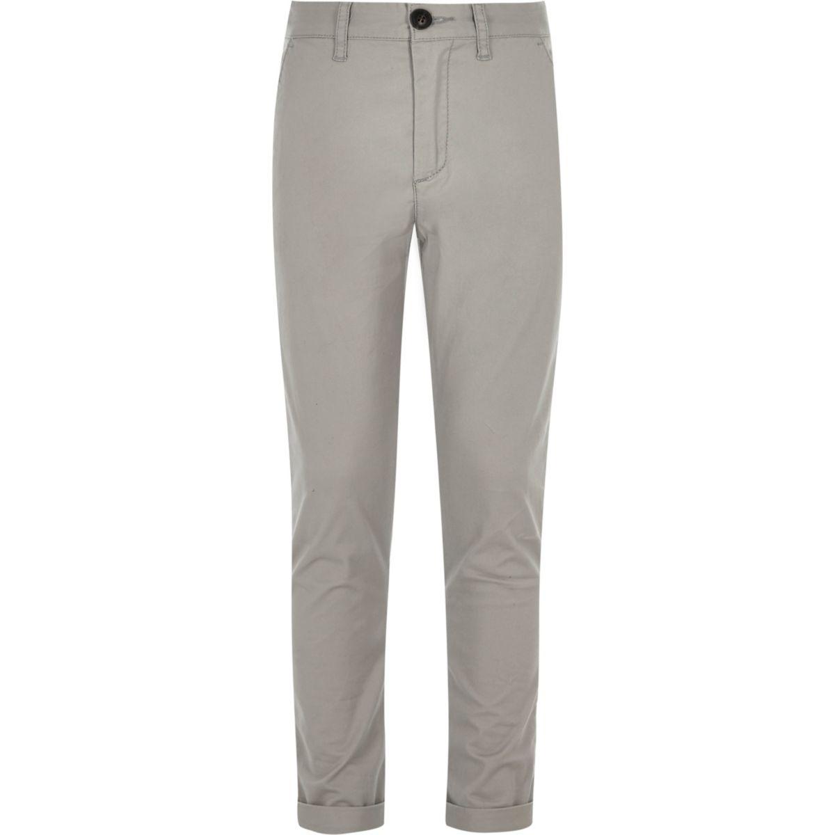 Boys grey Sid skinny fit chino pants