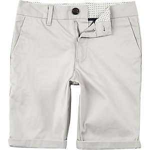 Boys grey Dylan slim fit chino shorts