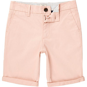 Boys light pink Dylan slim fit chino shorts