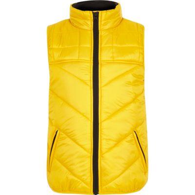 River Island Doudoune «awsme» jaune pour garçon - Tissu matelassé «Awsme» arrière bloque impression Poches zip feuillet Entonnoir cou Sans manches Fermeture éclair avant