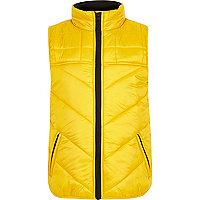 Boys yellow 'awsme' puffer vest