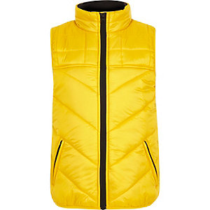 Boys yellow 'awsme' puffer gilet