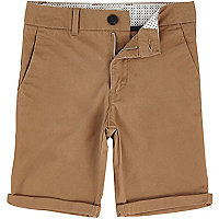 Boys brown Dylan slim fit chino shorts