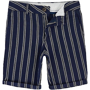 Dylan – Marineblaue, gestreifte Slim Fit Chino-Shorts