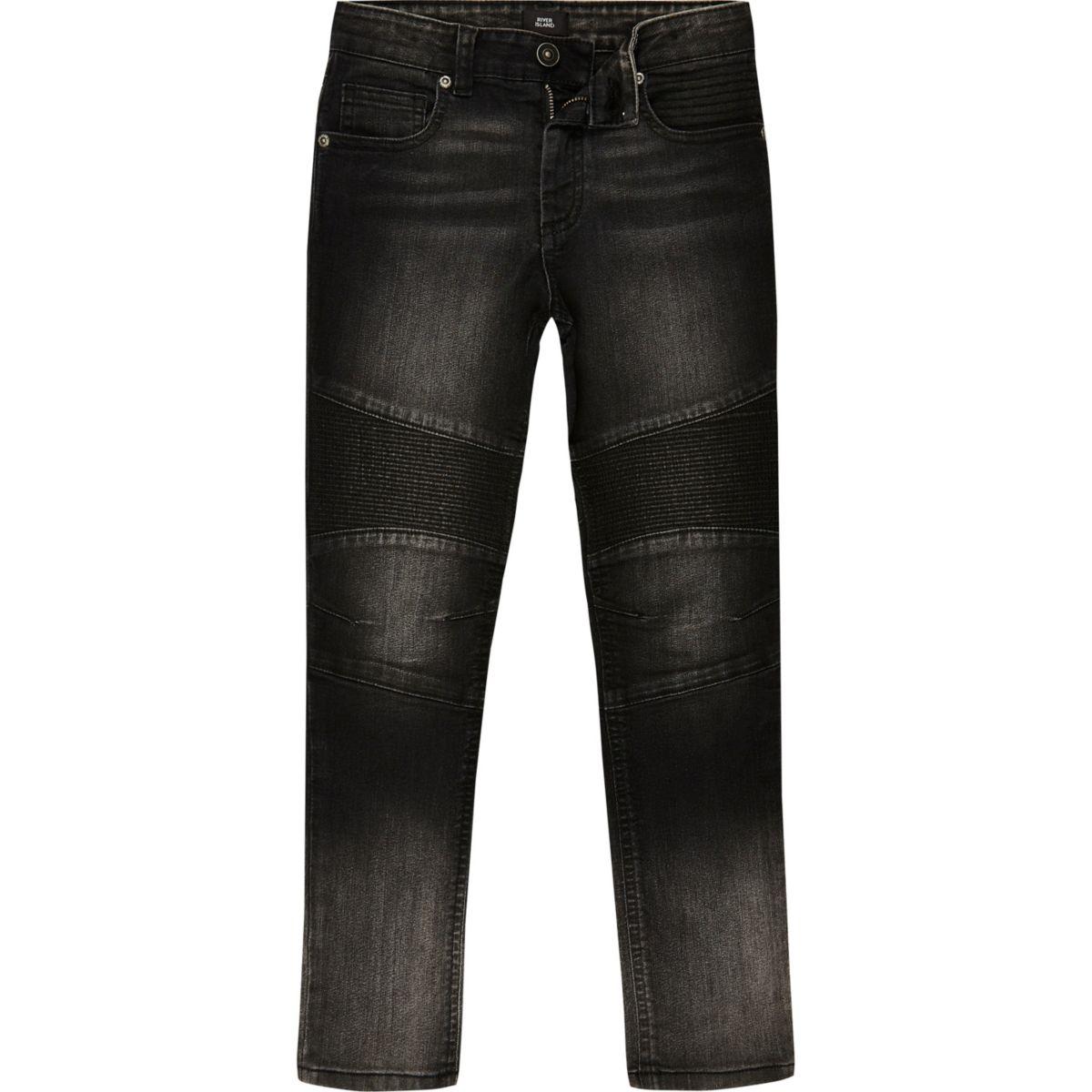 Boys black biker ombre Sid skinny jeans