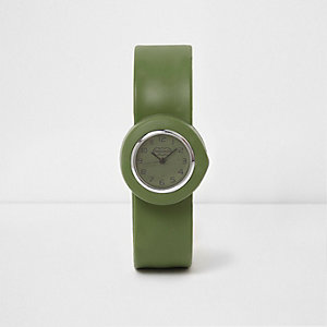 Boys khaki green snap on watch