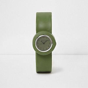 Kakigroen horloge met druksluiting voor jongens