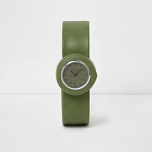 Boys khaki green snap on watch