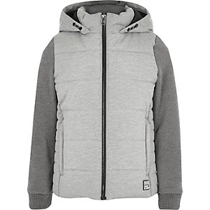 Boys grey puffer jersey sleeve hooded jacket