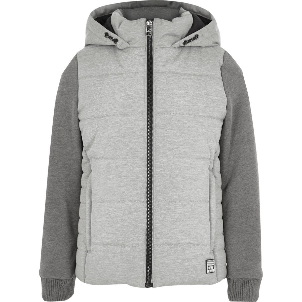 Boys grey puffer jersey sleeve hooded jacket