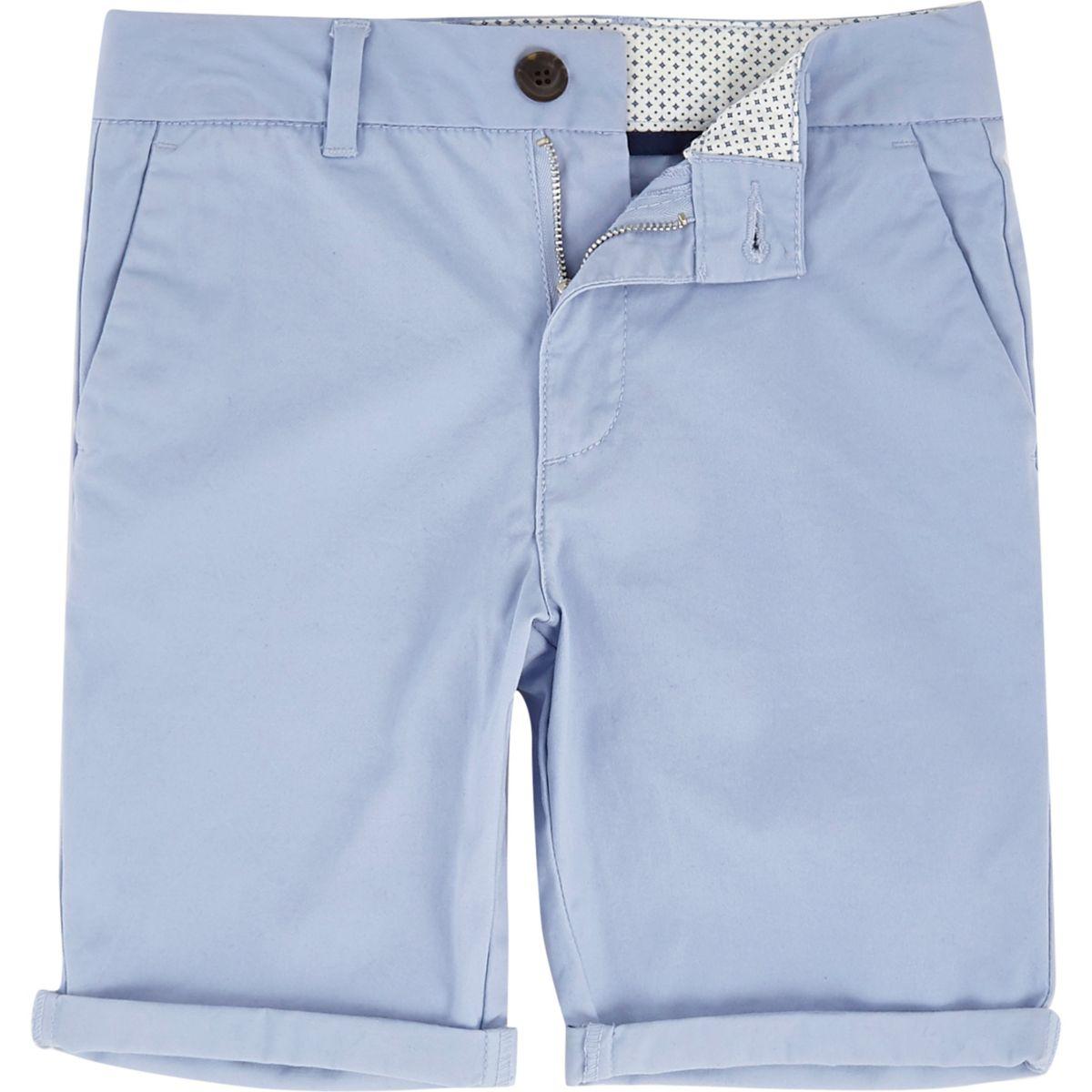 Boys blue slim fit chino shorts