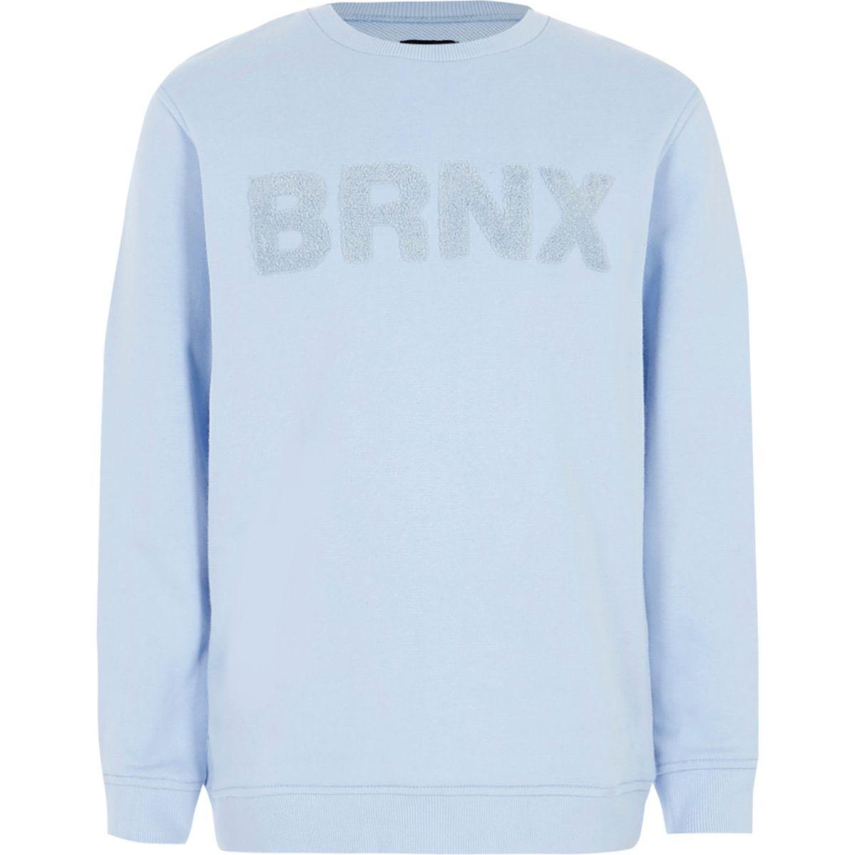 Boys light blue 'Brnx' felt sweatshirt