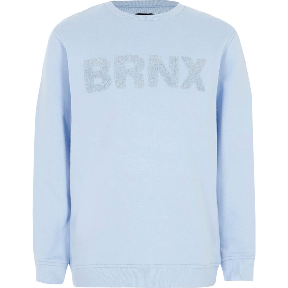 Boys light blue 'Brnx' felt sweatshirt