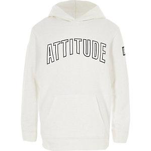 Witte hoodie met 'Attitude'-print voor jongens