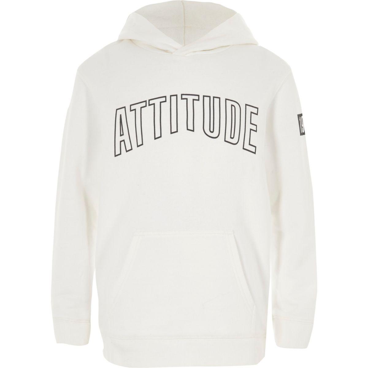 Boys white 'attitude' print hoodie