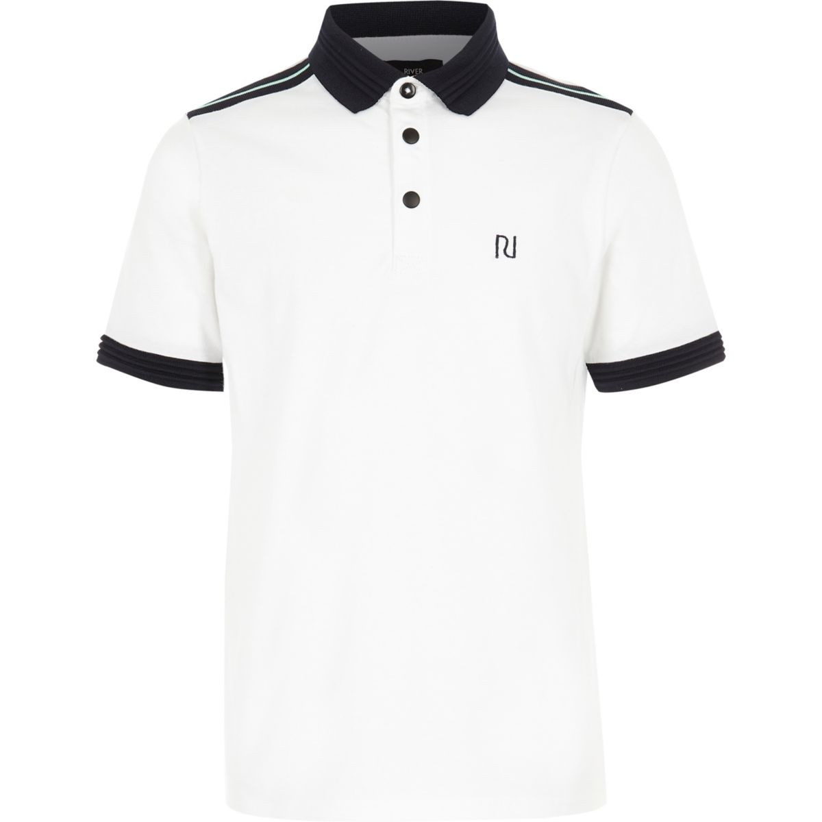 Boys white contrast stripe polo shirt