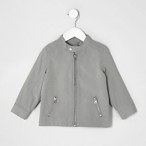 Mini boys grey racer neck jacket