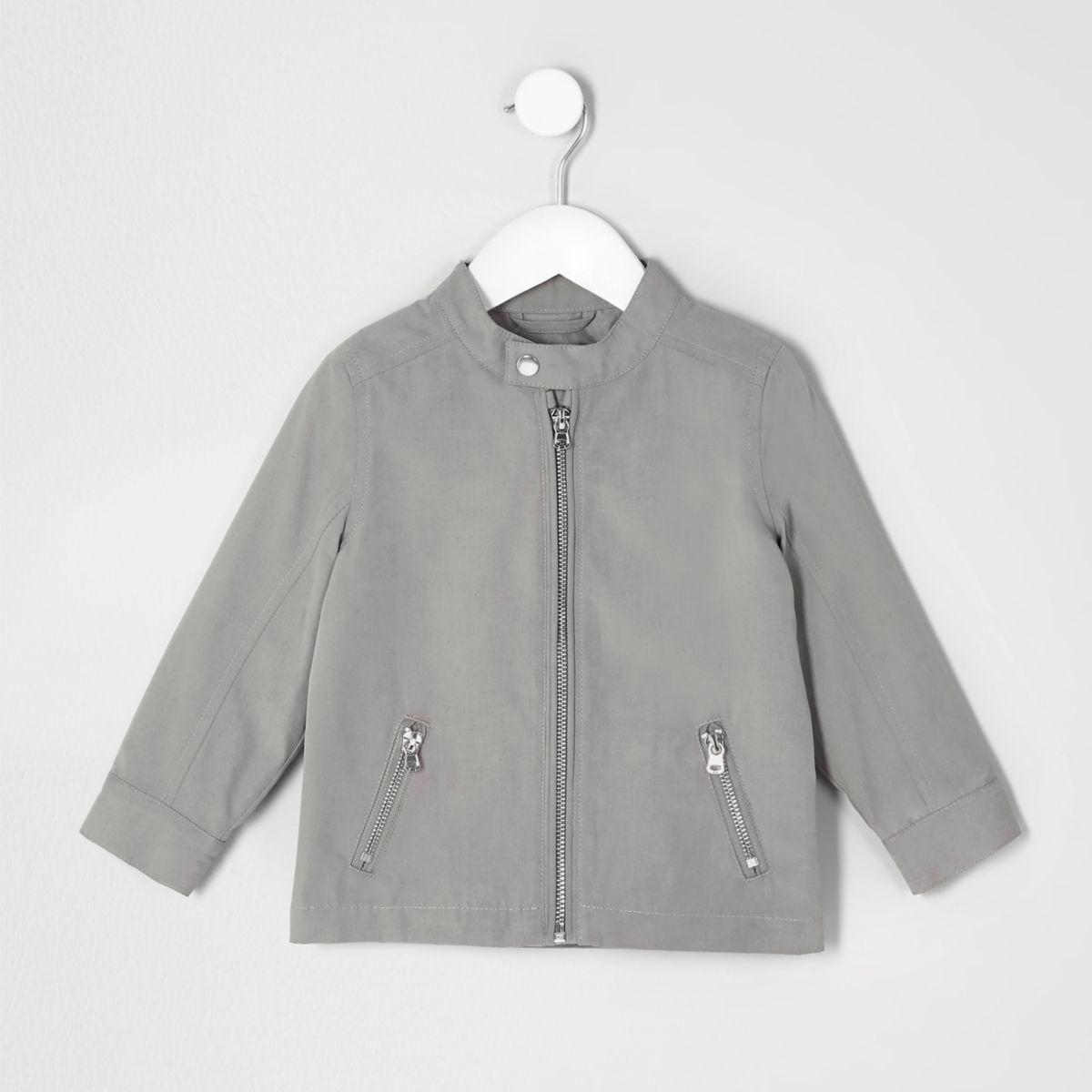 Mini boys grey racer neck jacket