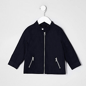 Mini boys navy blue racer neck jacket