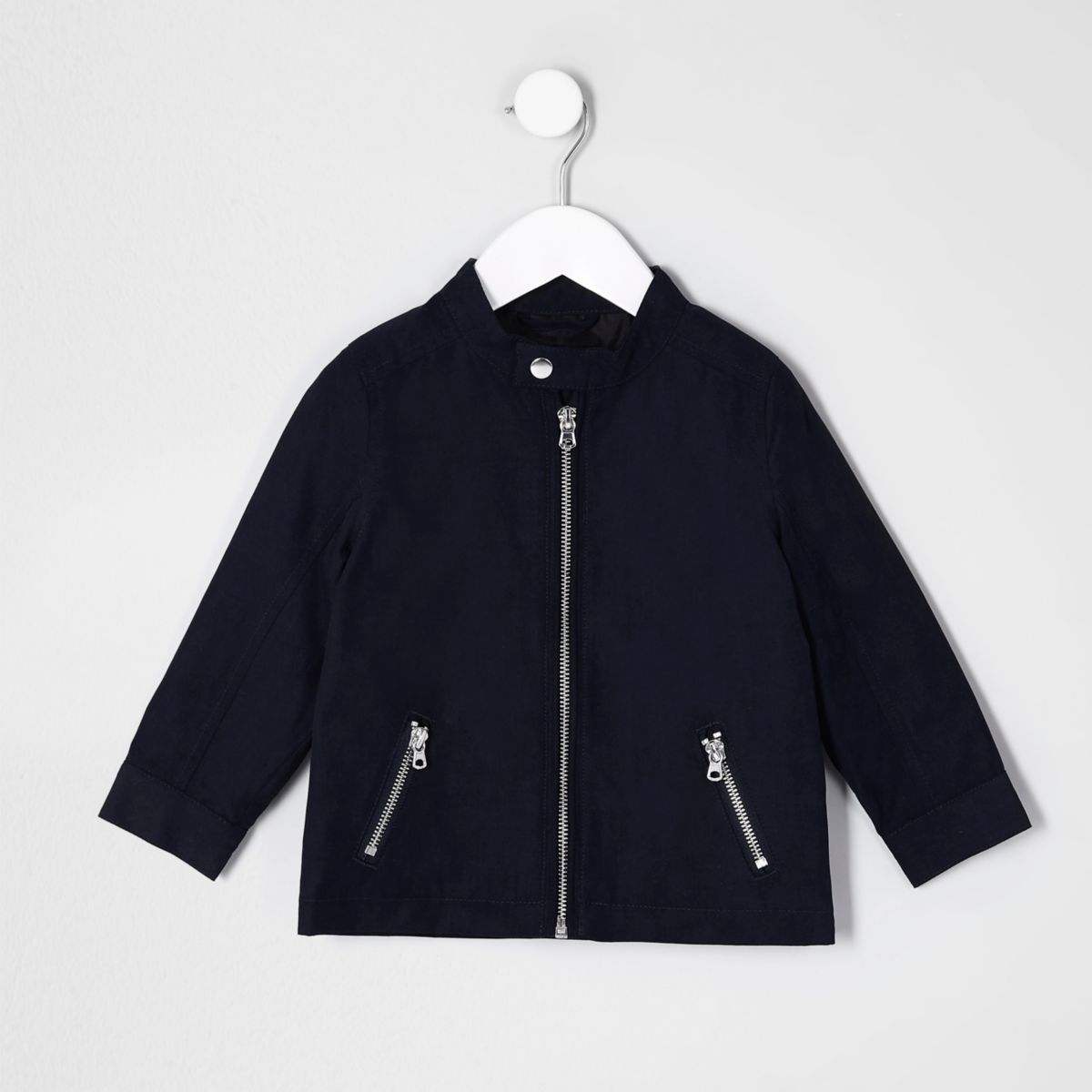 Mini boys navy blue racer neck jacket